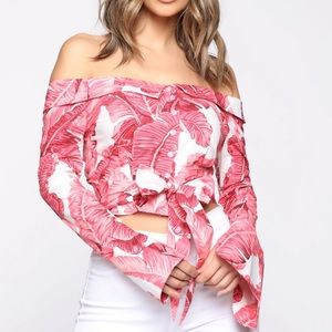 Living paradise off shoulder top-coral/combo